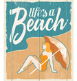 Vintage retro beach poster - wooden sign vector image vector image
