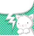 White cute little kitty marine backdrop vector image vector image