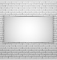 white movie screen or banner on white brick wall vector image vector image