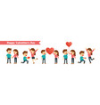 set of characters couples happy valentines day vector image