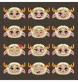 Funny cartoon beige girl monster emotions set vector image