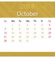 october 2018 calendar popular premium for business vector image