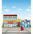 A pretty girl shopping vector image