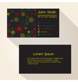 abstract outline flowers black business card vector image vector image