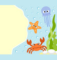 background sea animals cartoon card vector image vector image