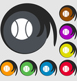 baseball icon Symbols on eight colored buttons vector image vector image