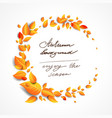 beautiful fall leaves wreath vector image vector image