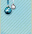 blue and white christmas ornaments on stripe vector image vector image