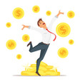 businessman jumping with happiness vector image