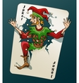 Cartooned Joker Jumping Out From Playing Card vector image vector image