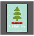 christmas card with tree and snow background vector image vector image