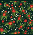christmas flowers red poinsettia seamless vector image