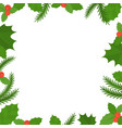 christmas frame border mistletoe and spruce in fl vector image