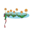 Christmas garland candle and fir branch vector image