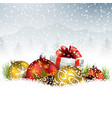 christmas with gift fir and pine cone on the snow vector image vector image
