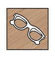 color pencil drawing square frame with sunglasses vector image vector image