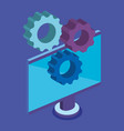 computer desktop with gears icons vector image vector image