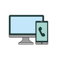 computer monitor with smartphone isolated icon vector image vector image