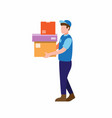 courier man carry package box delivery service vector image vector image