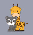 cute and little raccoon and giraffe characters vector image vector image