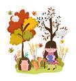 cute girl animals hello autumn vector image vector image