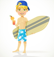 Cute teen boy with a drink and a surfboard vector image vector image