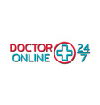 doctor online logo on white background mobile vector image vector image