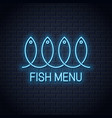 fish neon sign linear fish menu neon banner on vector image vector image