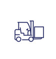 forklift truck with box line icon vector image