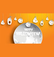 halloween background with pumpkin and moon in vector image
