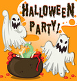 Halloween theme with ghost and pot vector image vector image