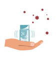 hand with homeopathy medicines bottle isolated on vector image vector image