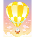 Hot air balloon with white bunny vector image