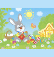 little bunny painting easter eggs vector image vector image