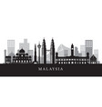 malaysia landmarks skyline in black and white vector image vector image