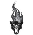monochromatic leopard and flame tribal tattoo vector image vector image