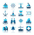 nautical color silhouette with reflection icon set vector image vector image