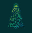 new year tree concept colorful linear vector image vector image