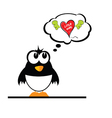 penguin with heart vector image vector image