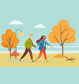 people walking with dog in autumn park vector image vector image