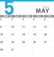 planning calendar May 2016 vector image