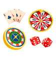 playing cards and dice roulette gambling games vector image