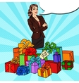 Pop Art Happy Woman with Huge Gift Boxes vector image vector image