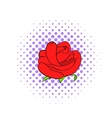 Red rose flower icon comics style vector image