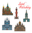 russian landmark buiding icons saint petersburg vector image vector image