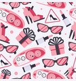 seamless pattern with pink woman goods like vector image vector image