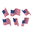 set of 3d usa waving flag isolated on white vector image vector image
