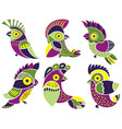 set of cute parrots vector image