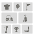 set of monochrome with golf icons vector image vector image