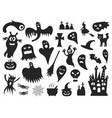 set of silhouettes of halloween on a white vector image